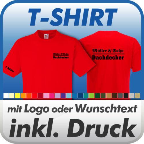 T-SHIRT Fruit of the Loom Wunschtext // Logo // Druck // Werbedruck rot inkl
