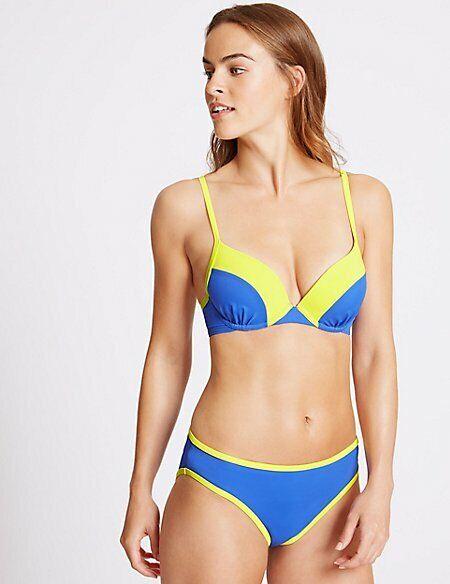 M&s Collezione Femminile Blocco Di Colore Tuffo Reggiseno Top Bikini Nuovo!!! Moda Attraente
