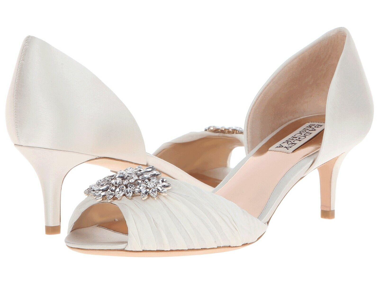 Badgley Mischka Women's Caitlin Crystal Embellished Peep Toe Pump Ivory Size 8.5