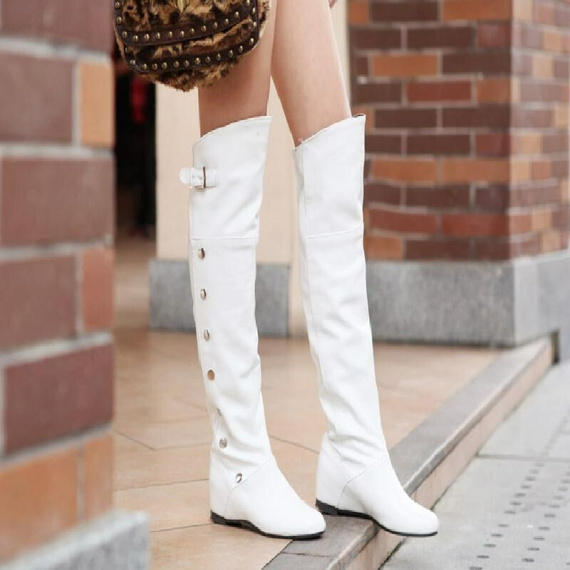 Women Round Toe Wedge Mid Heel PU Leather Over The Knee High Boots shoes Casual