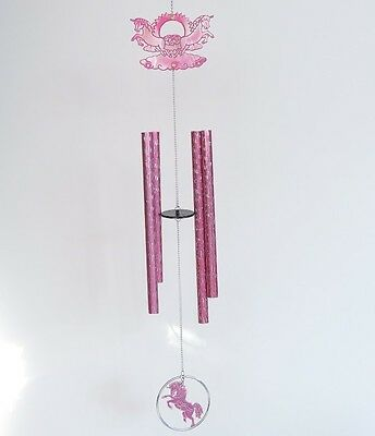"""Chinese Lucky Feng Shui Wind Chime - Pink Unicorn - Metal - 24""""L - New"""
