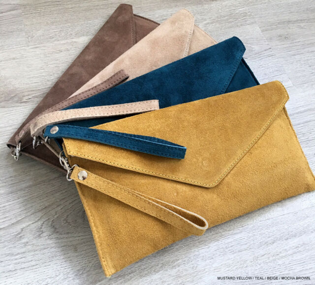 prevalent hot products beautiful style Mustard Wedding Clutch Bag Evening Bag Over Size Envelope Suede Made in  Italy