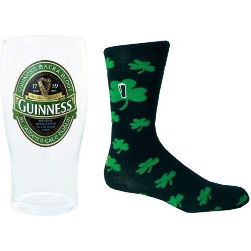 GUINNESS INCLUDES GREEN IRELAND PINT GLASS /& SHAMROCK SOCKS IRELAND SET