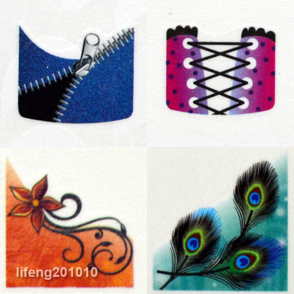 Water Transfer French Nail Art Tattoo Stickers Decals for nail tips decortaions