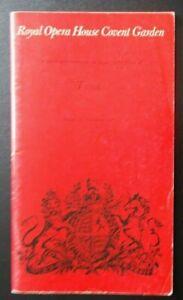 Tosca programme Royal Opera House Covent Garden 27th November 1981 Gwyneth Jones