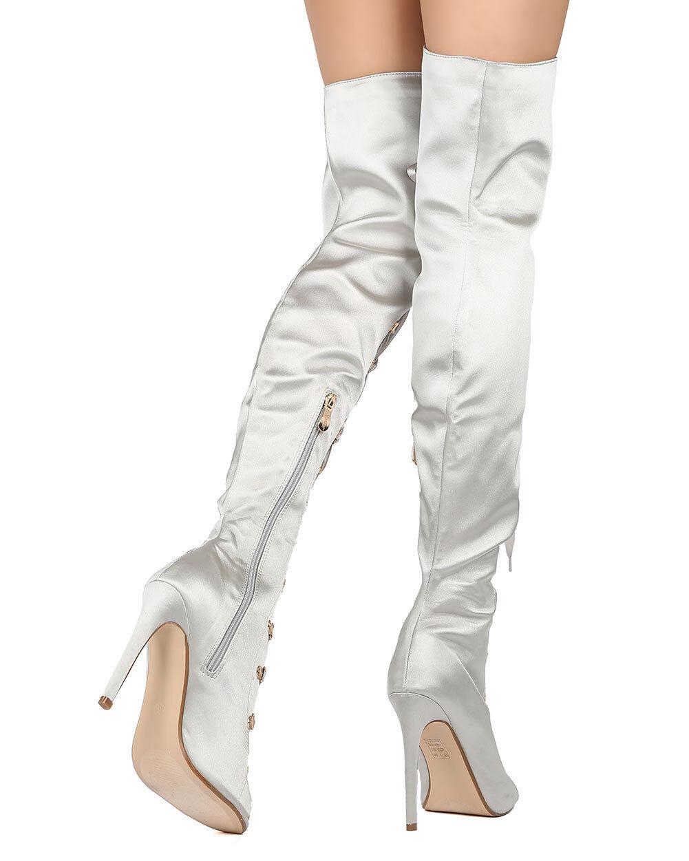 New Women Cape Robbin Olga-26 Satin Thigh High Peep Toe Lace Up Stiletto Boot