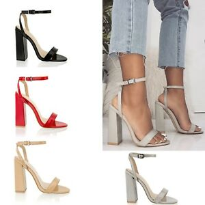 9a7d223c509 Womens High Block Heel Ladies Ankle Strap Barely There Sandals Party ...