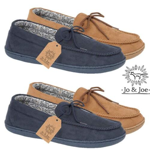 MENS MOCCASINS SLIPPERS LOAFERS FAUX SUEDE SHEEPSKIN WARM LINED WINTER SHOES SIZ
