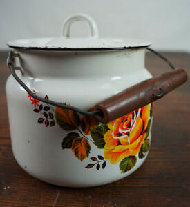 Vintage-Email-Milk-Jug-Bucket-Decor-Enamel-Retro-Flowers-Utensilo-50er-2