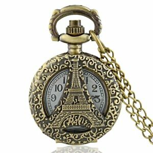 Bronze-Eiffel-Tower-Antique-Pocket-Watch-Chain-Quartz-Vintage-Necklace-Pendant