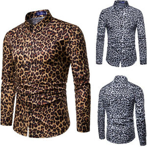 Mens-Leopard-Print-T-Shirt-Blouse-Casual-Long-Sleeve-Slim-Fit-Tops-Muscle-Tee