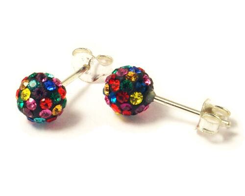4 Tamaños Plata Esterlina 925-Multicolores Cristal tachonado Ball Aros