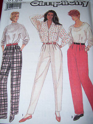 SIMPLICITY #9785 LADIES PLEATED PANTS w//THREE LEG VARIATIONS PATTERN  6-24 uc