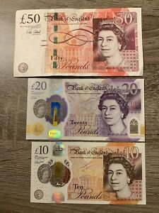 50 + 20 + 10 Great Britain pound Banknotes. 3 Cir England.  80 Pounds Total h