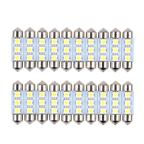 "20x 36mm 1.50/"" CANBUS Error Free 3 LED 5050 SMD 6418 C5W Festoon Dome Light Bulb"