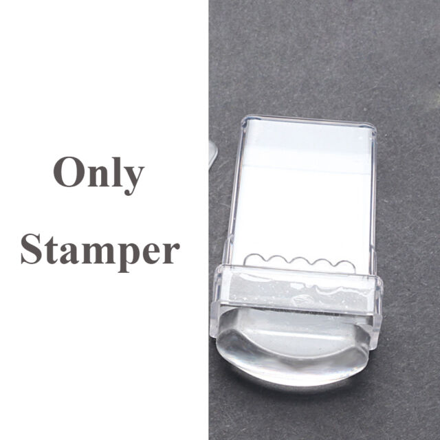 Transparent Nail Art Stamper Template Scraper Clear Silicone Stamping Plate Set