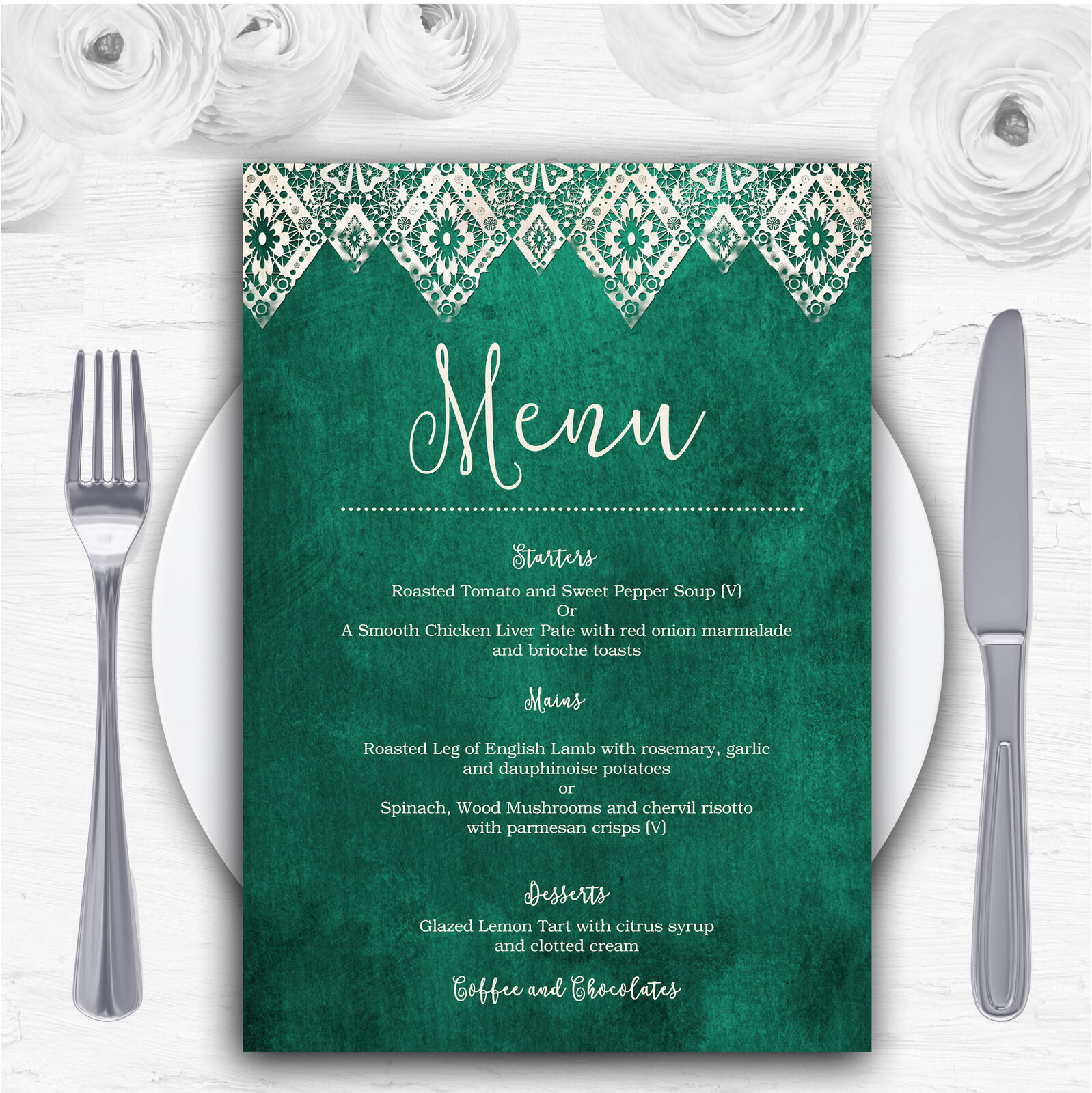Teal Grün Old Paper & Lace Effect Personalised Wedding Menu Cards