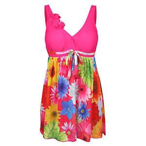 Pink-Womens-Swimwear-One-Piece-Swimsuit-Beach-Swimdress-US-size-8-10-12-14-16