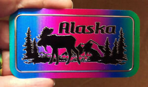 Alaska-Foil-Sticker-Colorful-moose-scene-with-mountain-and-trees-4in-x-2in