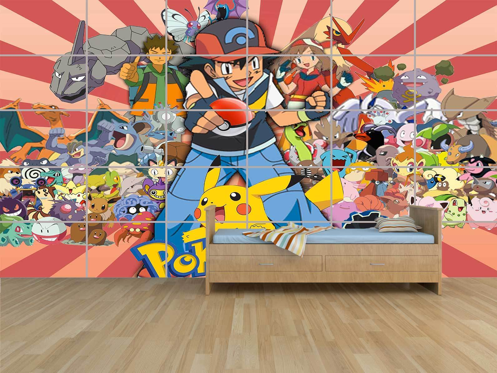 POKEMON ALL CHARACTERES BEST GEANT POSTER STYLE PRINT ROOM KIDS