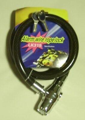 Alarm Wire Rope Lock Heavyduty Thick Motorcycle Motorbike Bike Cycle Bicycle Key
