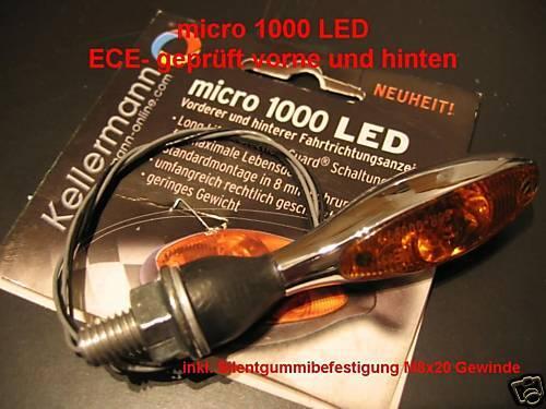 Motorrad indicator chrom 125.100 chrome Kellermann Blinker micro 1000 LED