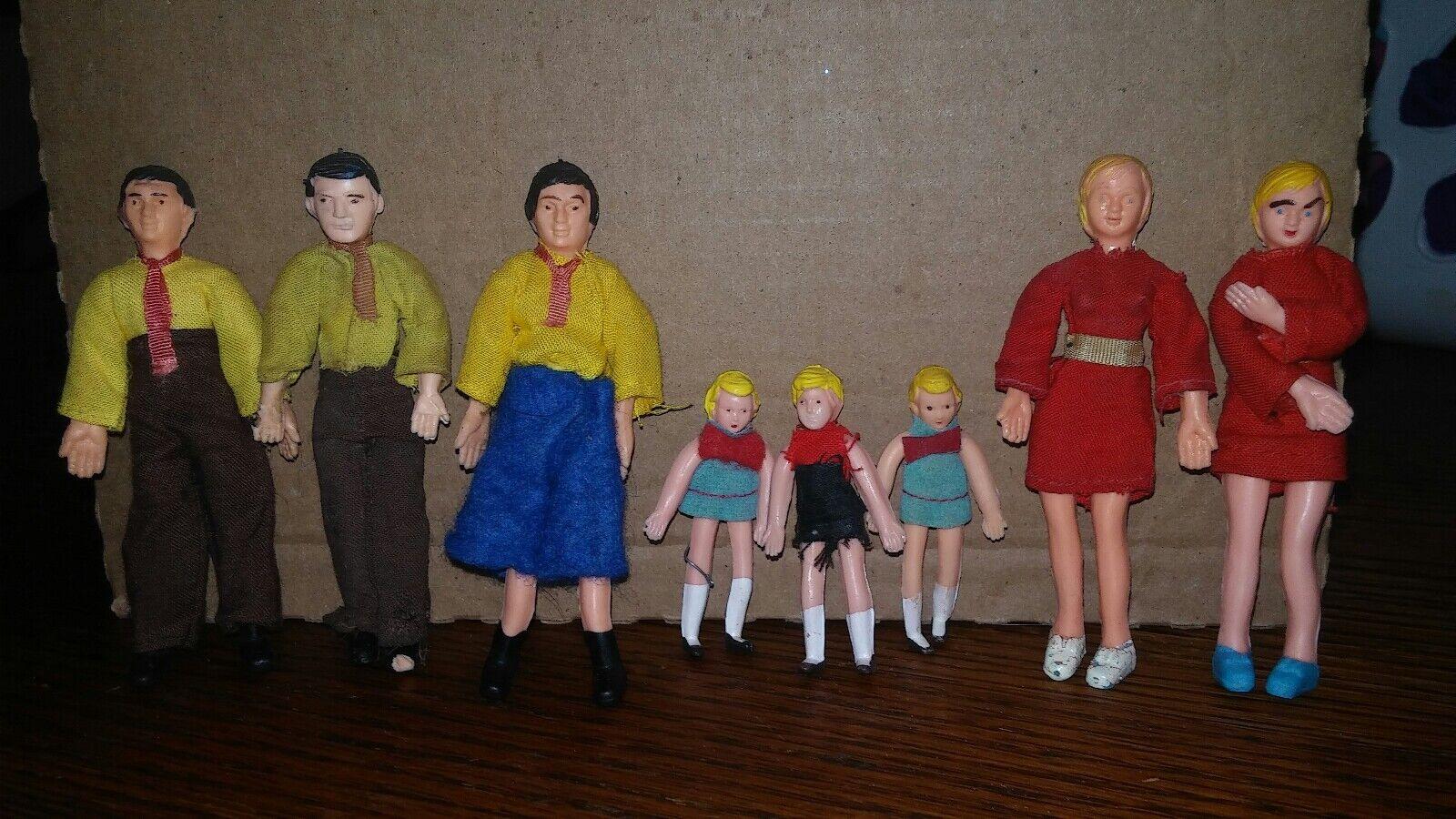 Vintage dollhouse miniature dolls lot Of 8 Man father Woman mom boy girl Rubber