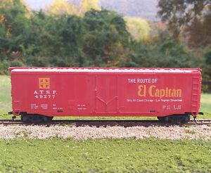 Tyco-HO-Scale-Santa-Fe-50-ft-Plug-Door-Box-Car-with-El-Capitan-slogan-Red
