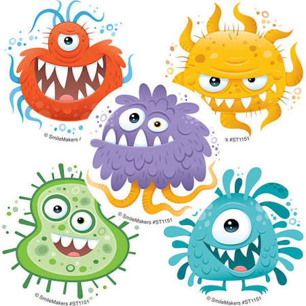 25 Silly Germ Squad Stickers Party Favors Teacher Supply School Nurse