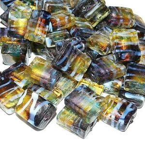 G3242-Purple-amp-Gold-w-Gold-Foil-amp-White-15mm-Rectangle-Lampwork-Glass-Bead-10pc