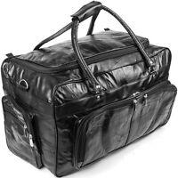 "Genuine Leather 23"" Travel Duffle Bag, Black Mens Overnight Gym Luggage Suitcase"