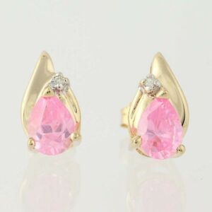 Image Is Loading Pink Cubic Zirconia Earrings 14k Yellow Gold Pear