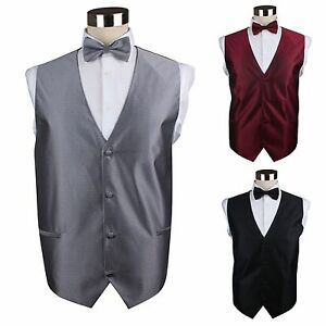 MENS-CHECK-PATTERN-WAISTCOAT-amp-BOW-TIE-WEDDING-BLACK-PURPLE-RED-DARK-SILVER-VEST