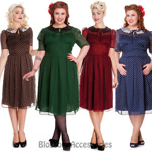 RKP7-Hell-Bunny-Cynthia-40s-50s-Rockabilly-Swing-Tea-Dress-Vintage-Polka-Dots