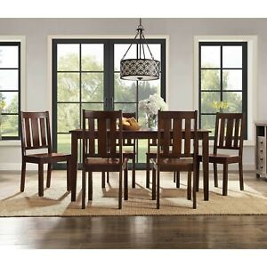 Details about Dining Room Table Set Wooden Kitchen Tables And Chairs Sets  Contemporary 7 Piece