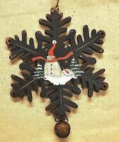 8 Primitive Wood Snowflake Ornament W/ Rusty Bell & Painted Snowman - Blue