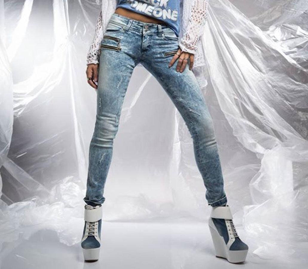 By Alina Sexy Röhrenjeans Damenjeans Jeans Hose Damenhose Hüftjeans Blau XS S M