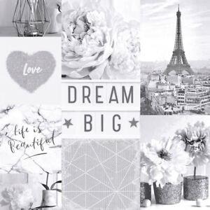 Image Is Loading DREAM BIG PARIS COLLAGE WALLPAPER MONOCHROME ARTHOUSE 692100
