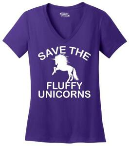 Ladies-Save-The-Fluffy-Unicorns-V-neck-Tee-Fat-Chubby-Horse-Shirt