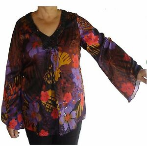 Top-Blouse-V-Neck-Beaded-Bell-Sleeve-Sz-14-Women-OPM-Purple-Black-Red-Floral