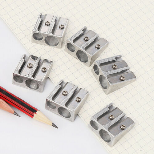 New Reliable Metal Pencil Sharpeners Double Hole Drawing Writing Sharpener BH