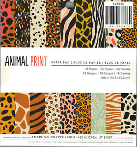 American Crafts Animal Imprime 6x6 Papel Pad 36 Papeis 18 Desenhos