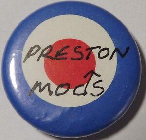 PRESTON-MODS-Target-Old-OG-Vtg-1980-s-Button-Pin-Badge-25mm-1-034-mod-revival