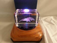 Gus Khrustalny Russian Lead Crystal Cube 3D Paperweight Etched 2 Dolphins 110CR