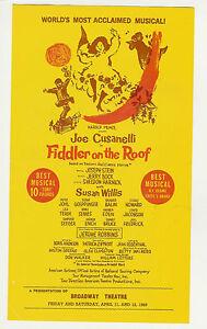 Fiddler On The Roof BROADWAY Theatre Playbill Program Joe - Playbill program