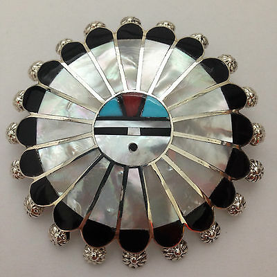 Sterling Silver Zuni Multi-Stone Inlay 5 Sun Face Round with Teardrop Necklace