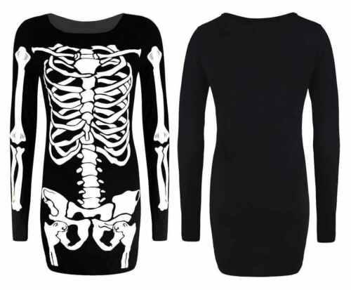 New Ladies Skeleton Print Halloween Costume Womens Fancy Midi Dress Top Legging
