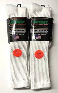 Men/'s HYTEST White w//Gray Cushion Bottom Work //Sport Crew Sock Size10-13 NEW!
