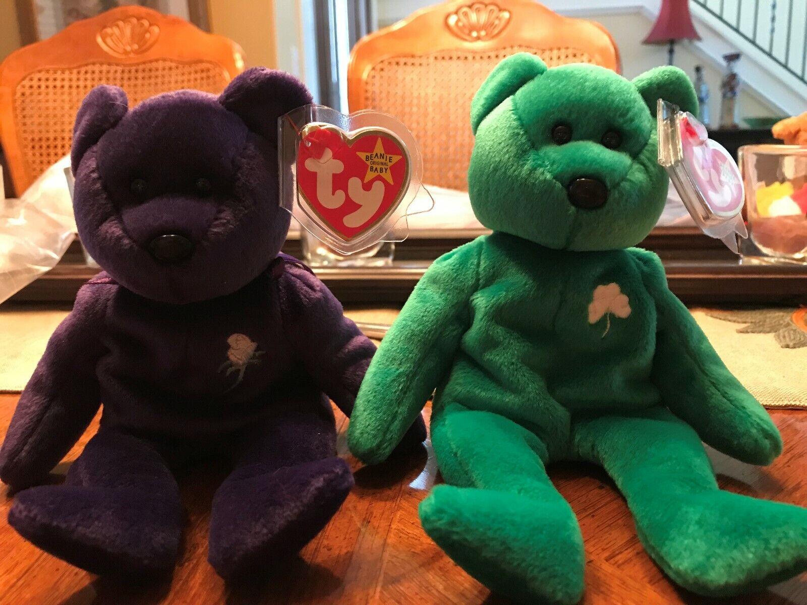 Prinsessan Diana Di Beanie bebis TY & och Erin Bear --New Mint --Ingen tush taggstämpel