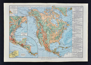 Details about 1885 Drioux Map - North America Physical - United States  Canada Mexico Mountains